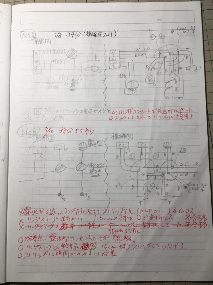 実技試験練習のミスや作業時間のノート