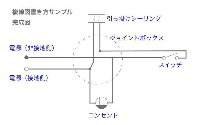 複線図 書き方サンプル 完成図